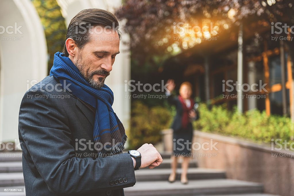 Late on business meeting stock photo