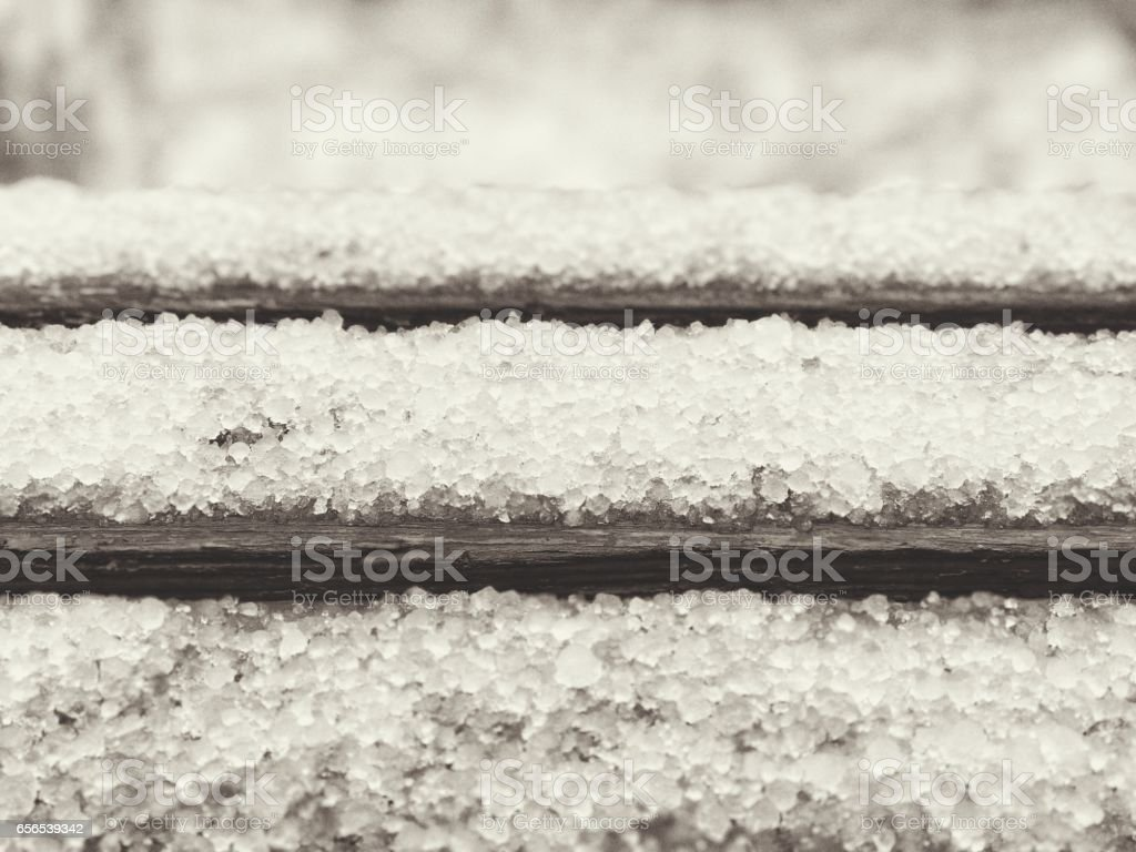 Late snow with hailstones stock photo
