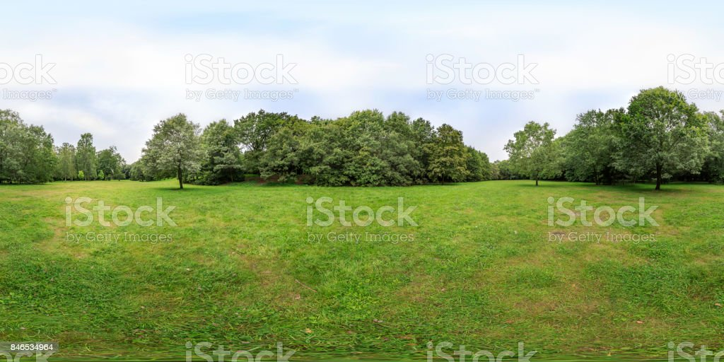 late summer afternoon in a park (360 degree panorama) stock photo
