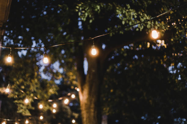 spätsommer-abend in einem garten - terrassen lichterketten stock-fotos und bilder