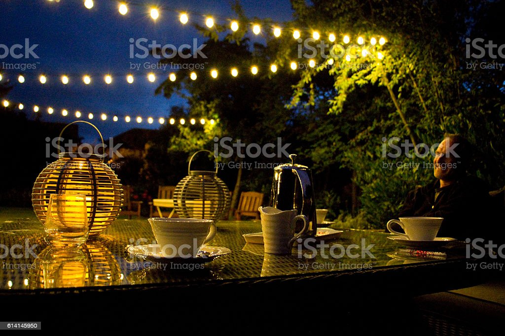 Late summer evening in the garden stock photo