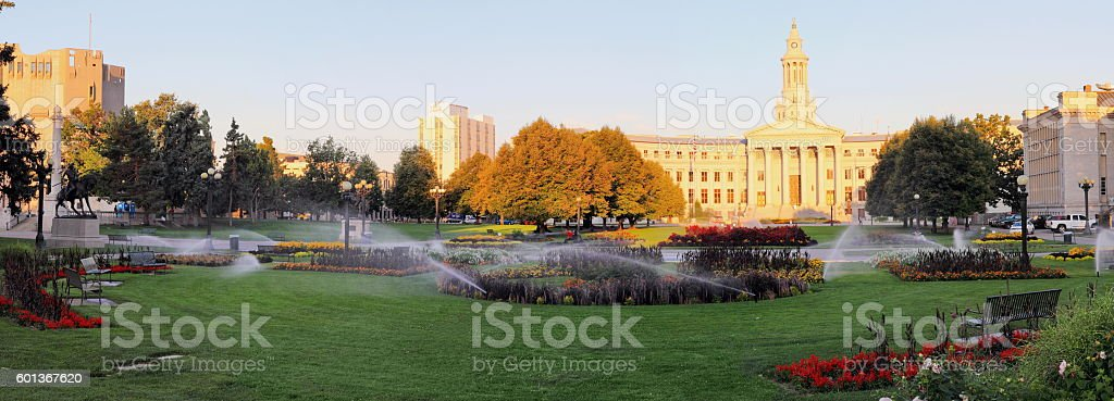 Late summer morning at Denver Civic Par Overview royalty-free stock photo