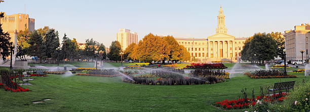 Late summer morning at Denver Civic Par Overview stock photo