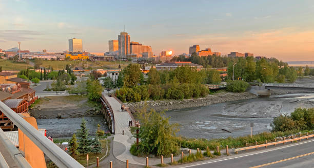 Late Sunset in the Last Frontier City of Anchorage Alaska stock photo