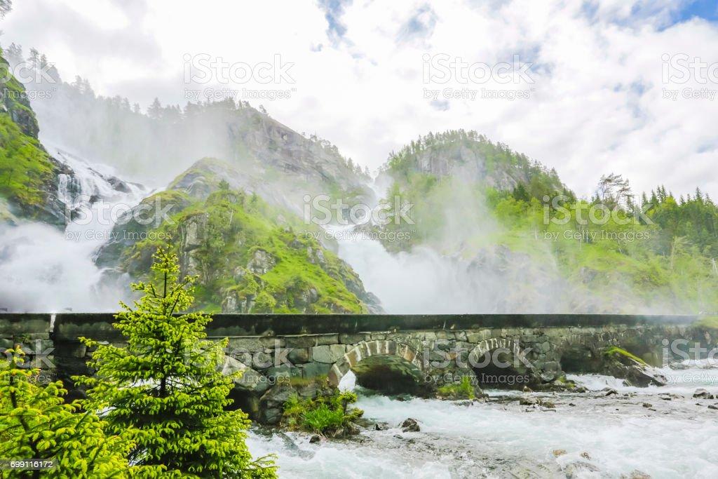 Latefoss Waterfall. Norway. stock photo