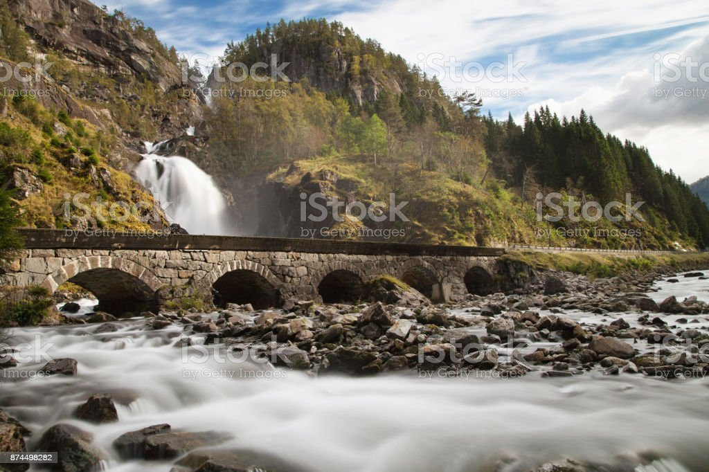 Latefoss Waterfall stock photo