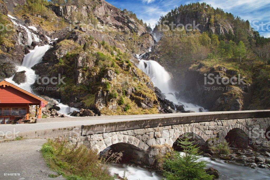 Latefossen Falls stock photo