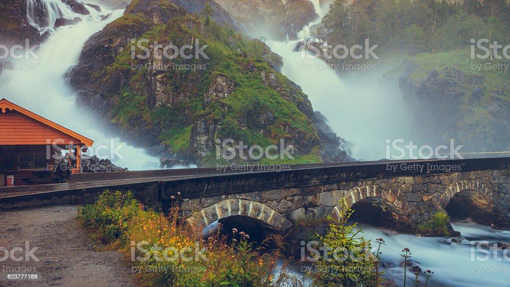 Latefossen waterfall in Norway stock photo