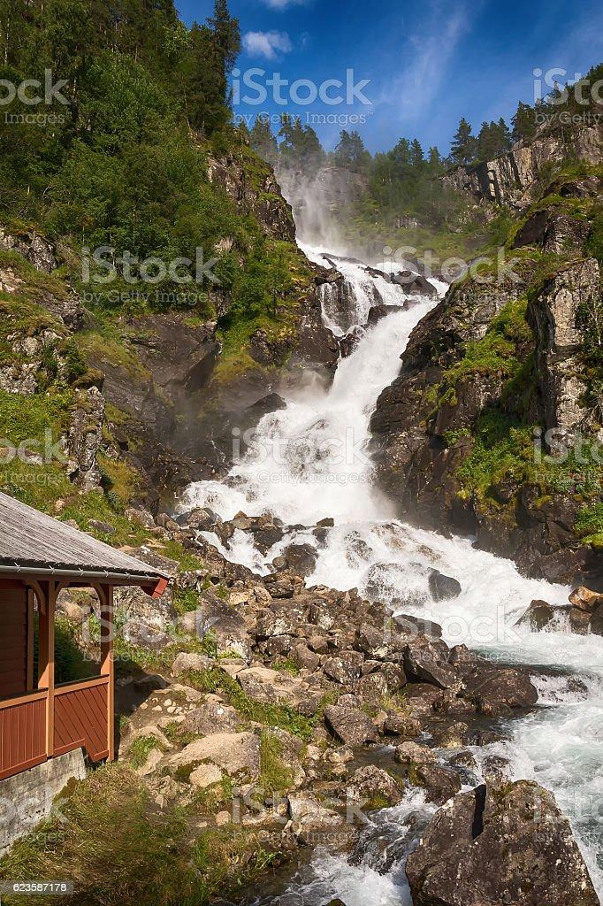 Latefossen Waterfall, Norway stock photo