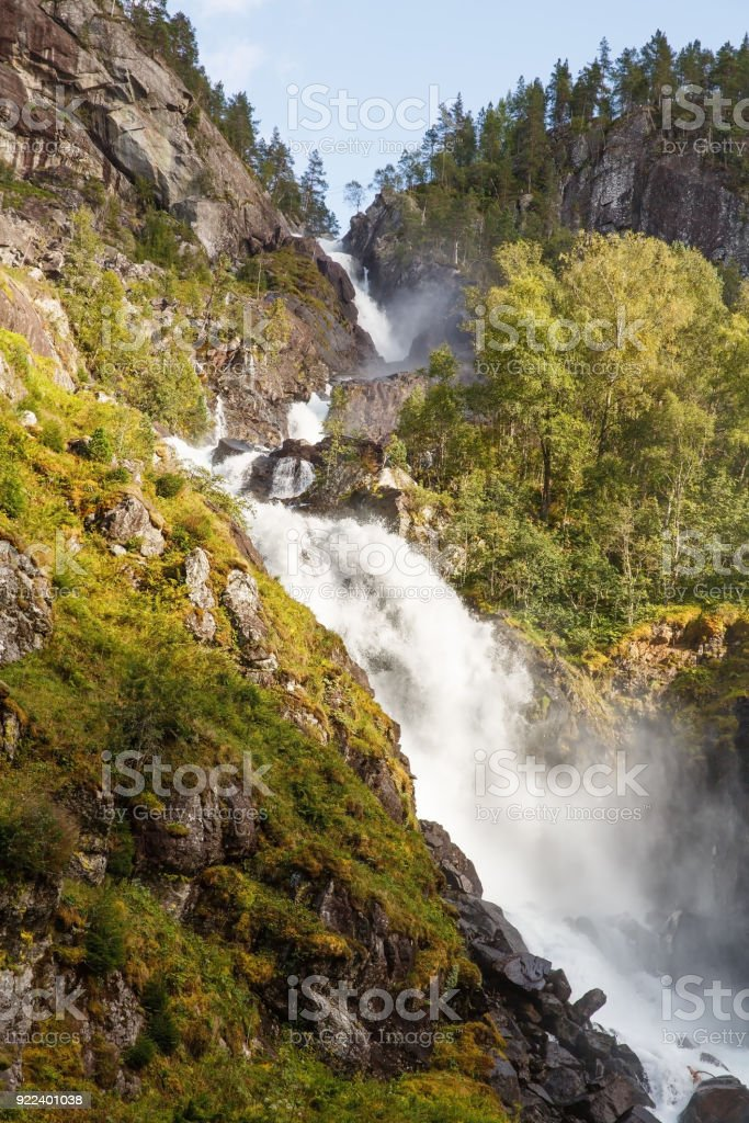 Latefossen waterfall stock photo