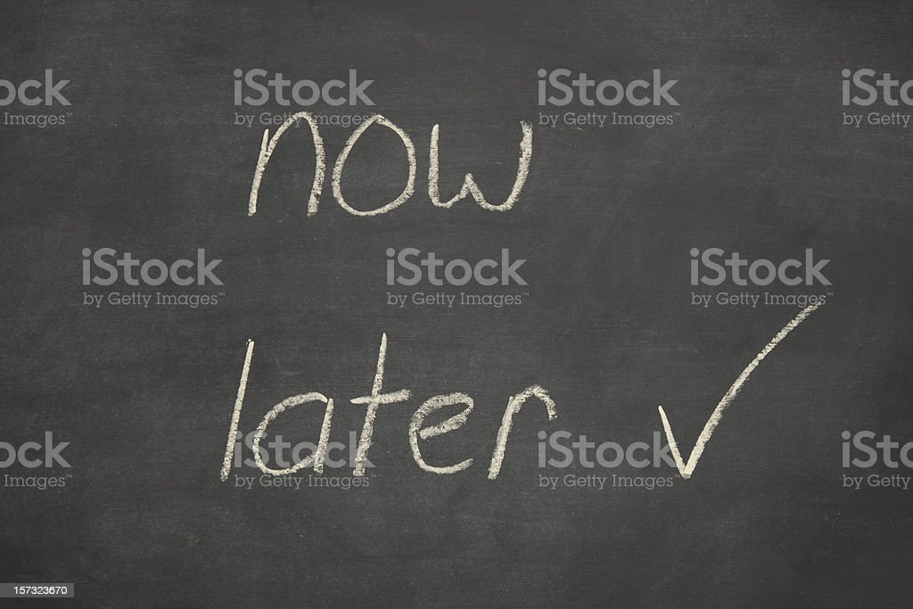 later now written on a blackboard royalty-free stock photo