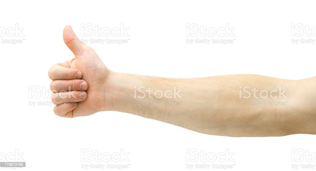 Lateral image of arm with thumbs up on white background stock photo