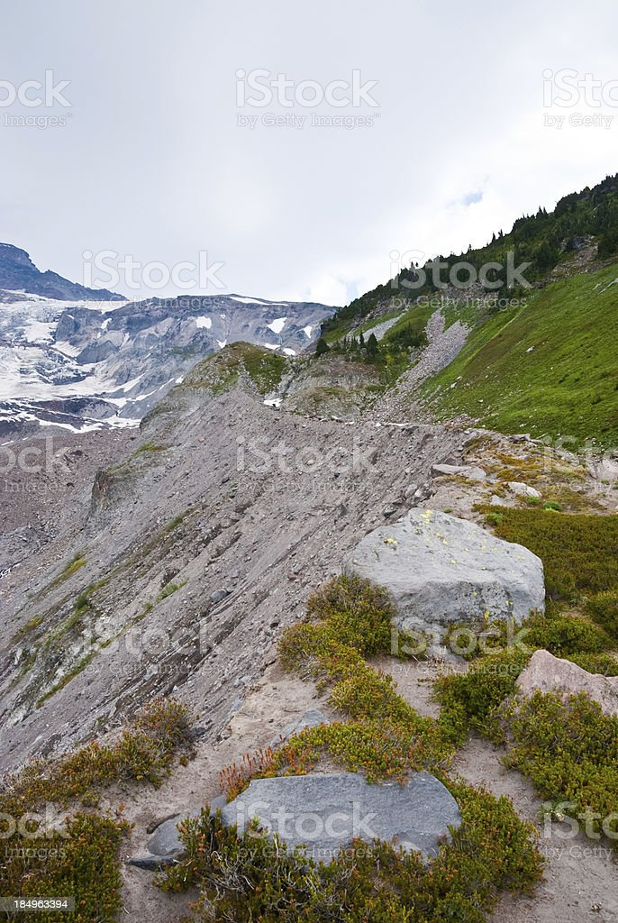 Lateral Moraine of the Nisqually Glacier stock photo