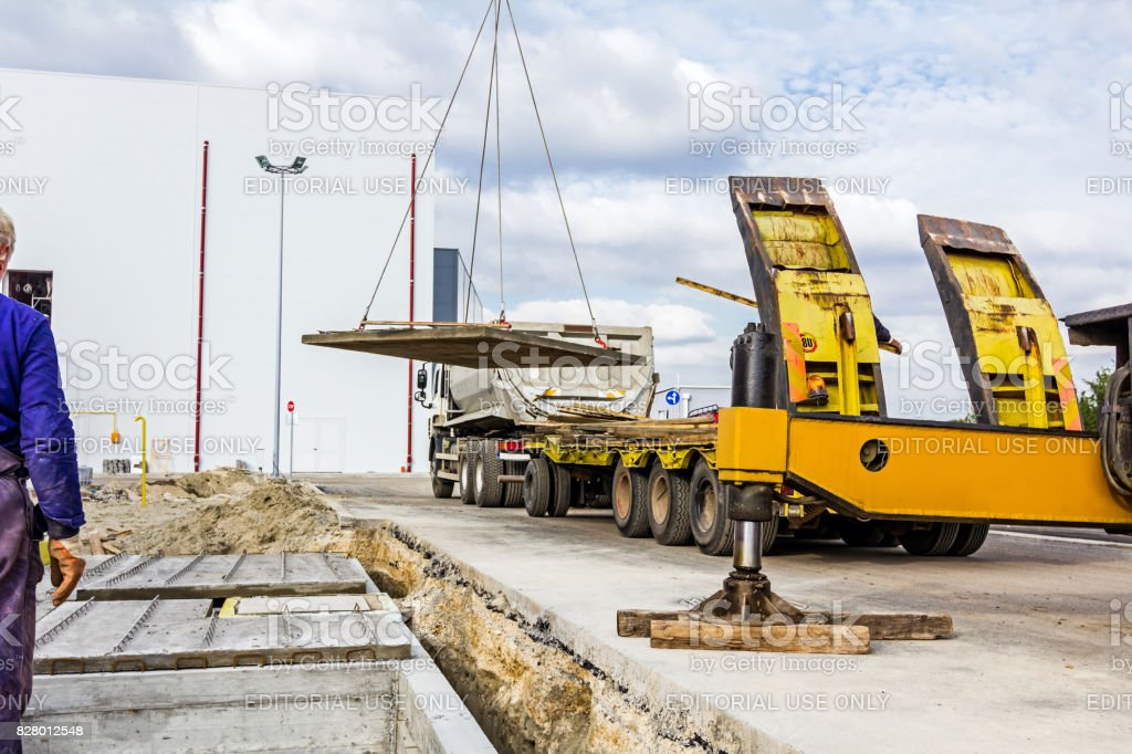 Lateral stabilizer on mobile crane stock photo