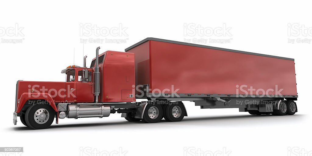 Lateral view of a big red trailer truck royalty-free stock photo