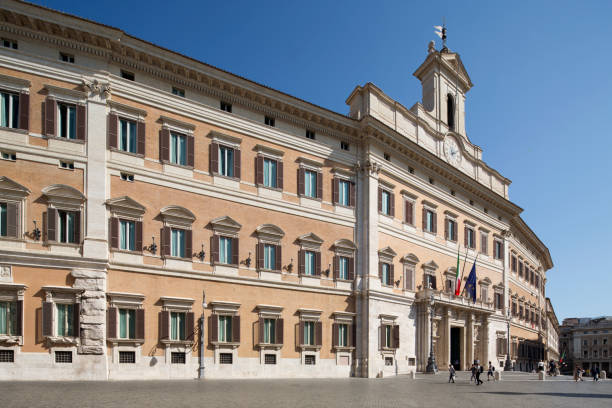 Lateral view of Palazzo Montecitorio stock photo