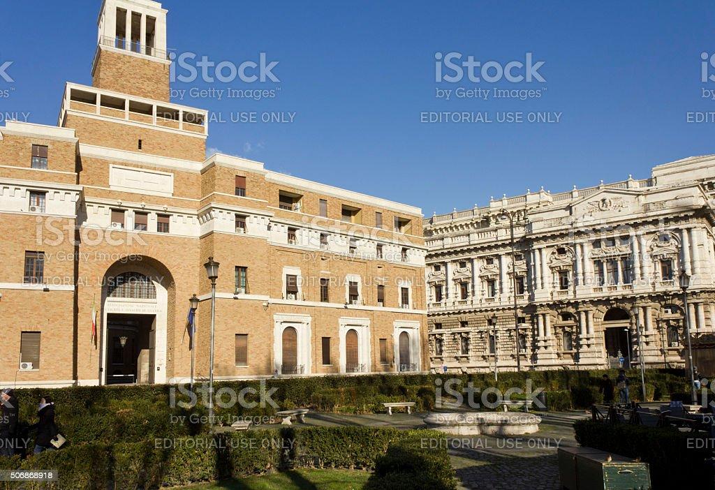 Lateral view of Roman Corte di Cassazione building stock photo