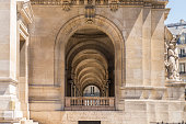 Lateral view of the front arcade of the Opera Garnier at Paris city, France.