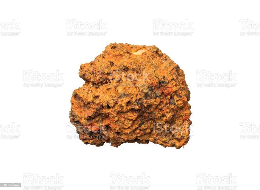 Latérite minerai Mineral Stone Rock sur fond blanc. - Photo