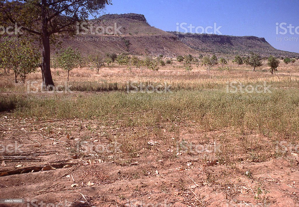 Lateritic crusts capping mesas uplands interior of Togo West Africa stock photo