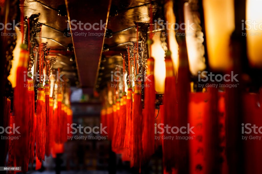 Laterns in a row at Man Mo temple, Hong Kong, Asia royalty-free stock photo