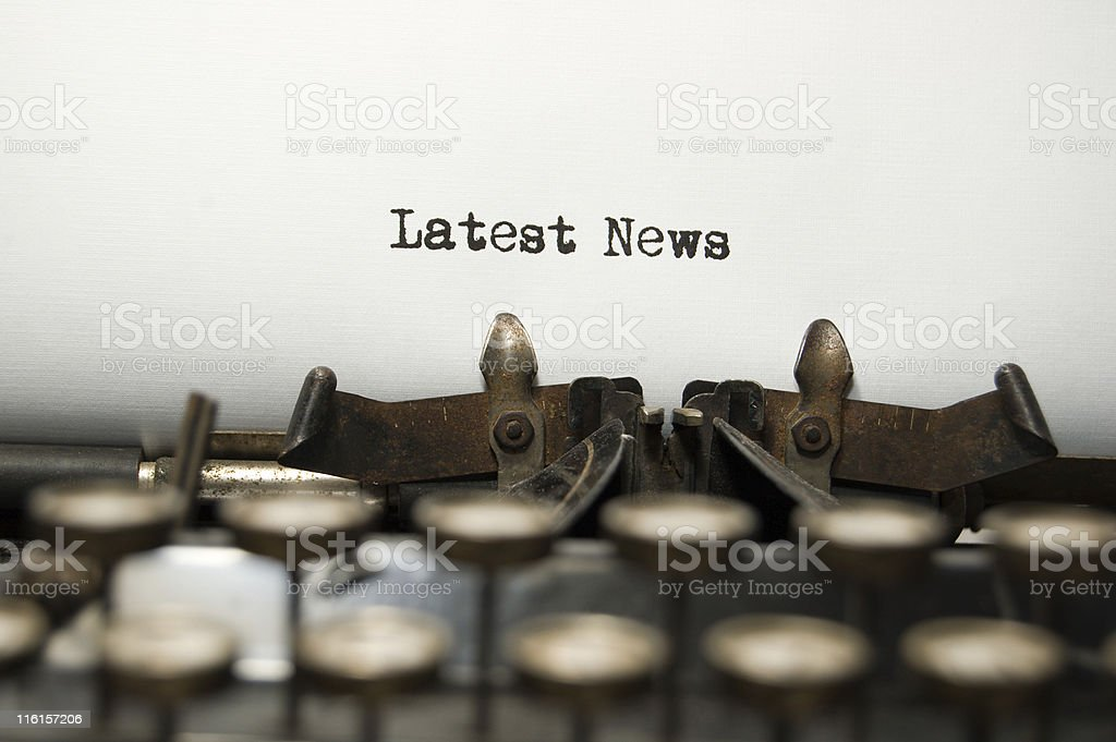 Latest News- on an old typewriter showing keys royalty-free stock photo