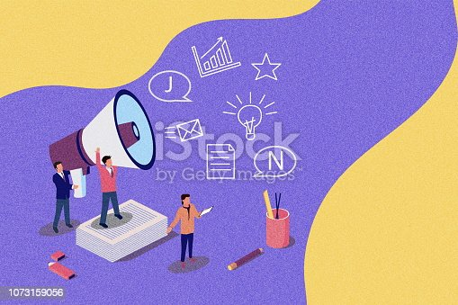istock Latest news vector isometric illustration concept, people shout into the megaphone with Latest News words. Concept for, landing page, template, ui, web, mobile app, poster. vintage texture 1073159056