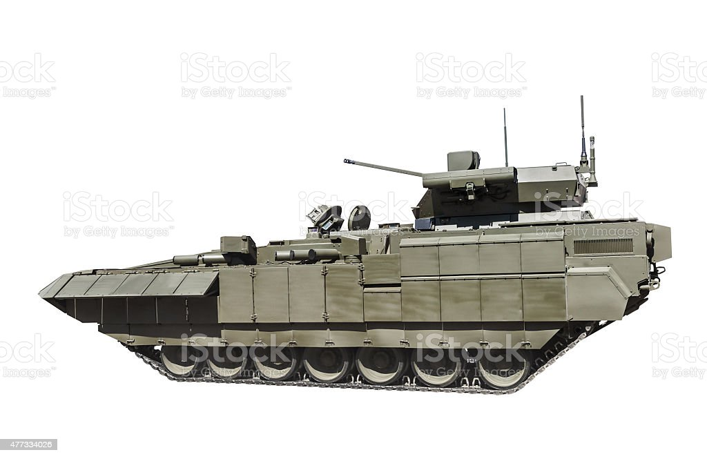 latest Russian infantry fighting vehicle is isolated on a white stock photo