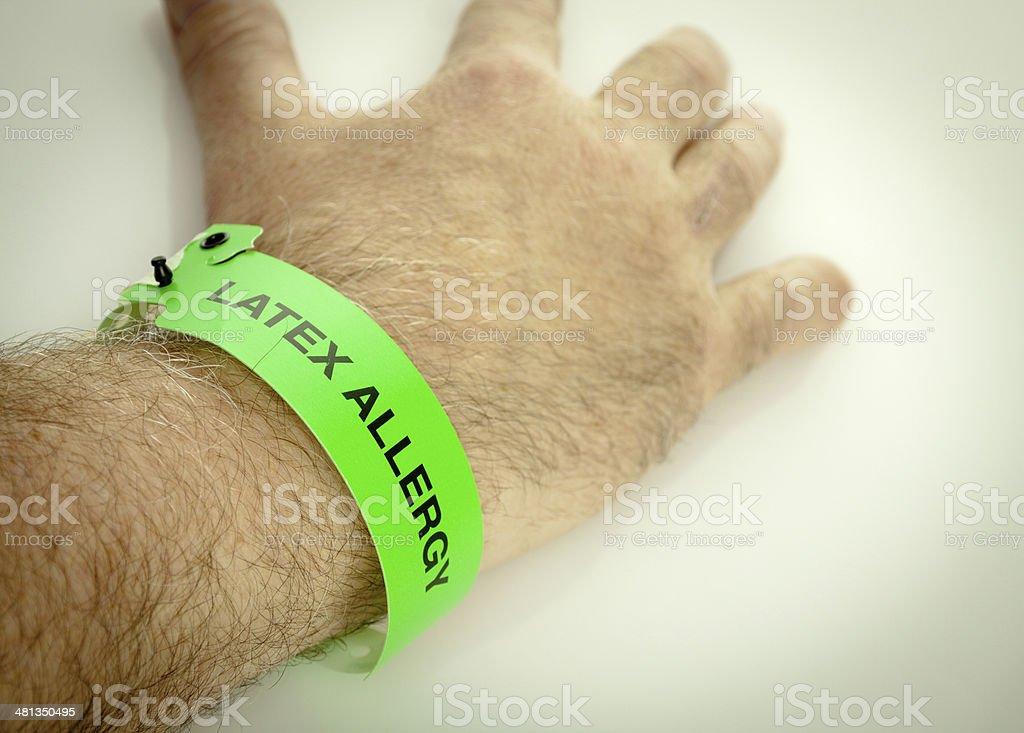 Latex Allergy Wrist Bracelet stock photo