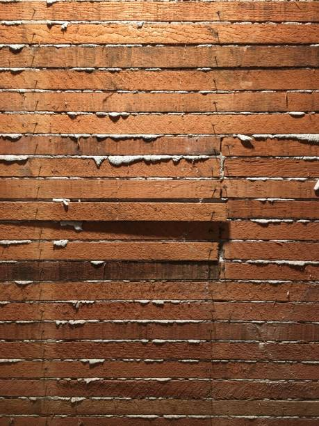 Lath and plaster wall, inside, no people, vertical stock photo