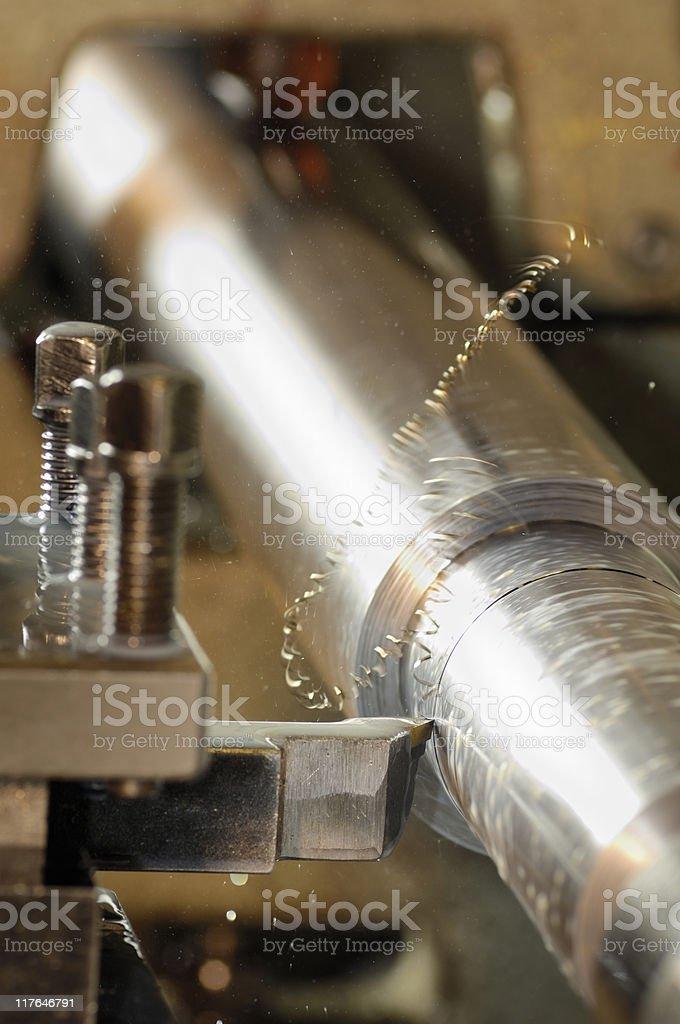 Lathe cutting steel royalty-free stock photo