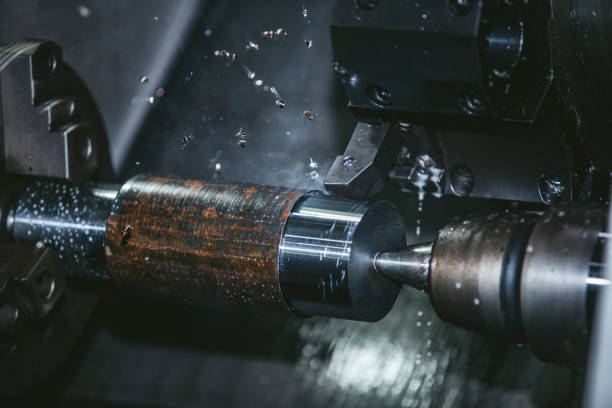 Lathe equipment in the factory manufacturing metal structures Lathe equipment in the factory manufacturing metal structures and machines miller park stock pictures, royalty-free photos & images
