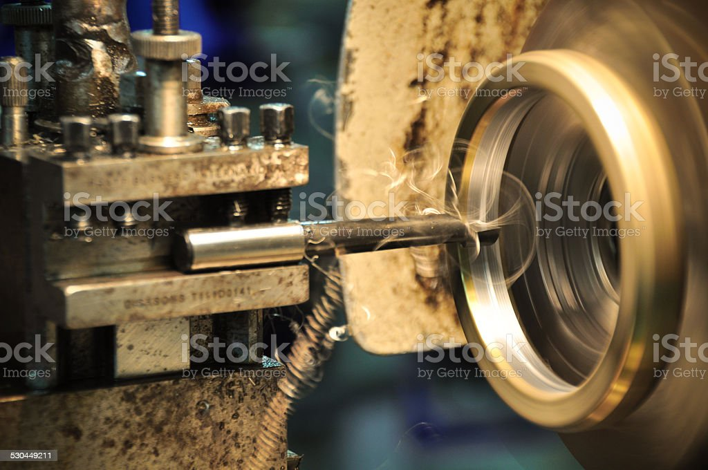 lathe machine in a workshop, Part of the lathe. stock photo