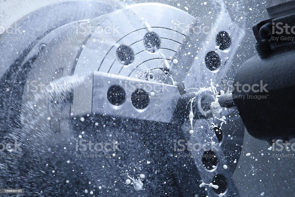CNC lathe processing stock photo