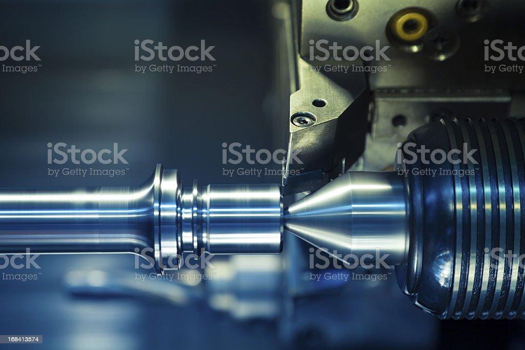 CNC Drehmaschine Verarbeitung. - Lizenzfrei Ausrüstung und Geräte Stock-Foto