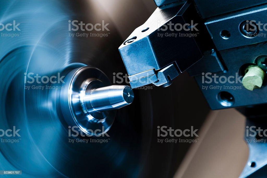 CNC lathe processing. stock photo
