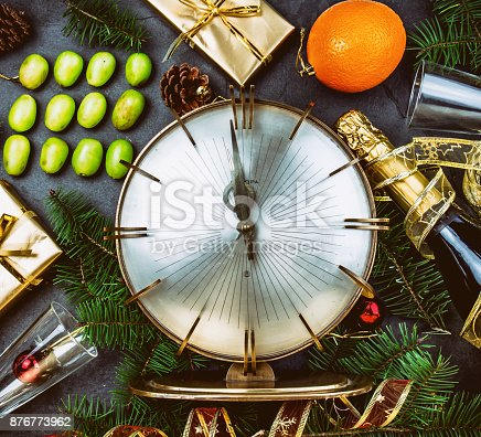 istock NEW YEAR TRADITION. Latin American and Spanish New Year traditional. Funny ritual to eat twelve 12 grapes for good luck at midnigth. Flat lay, top view. Christmas New Year composition. 876773962