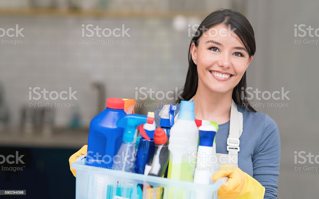 Latin American cleaning woman stock photo