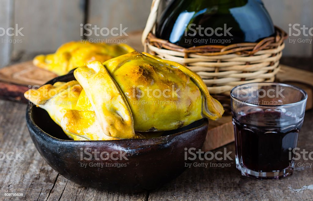 Latin American food. Chilean empanadas with meat and onion stock photo