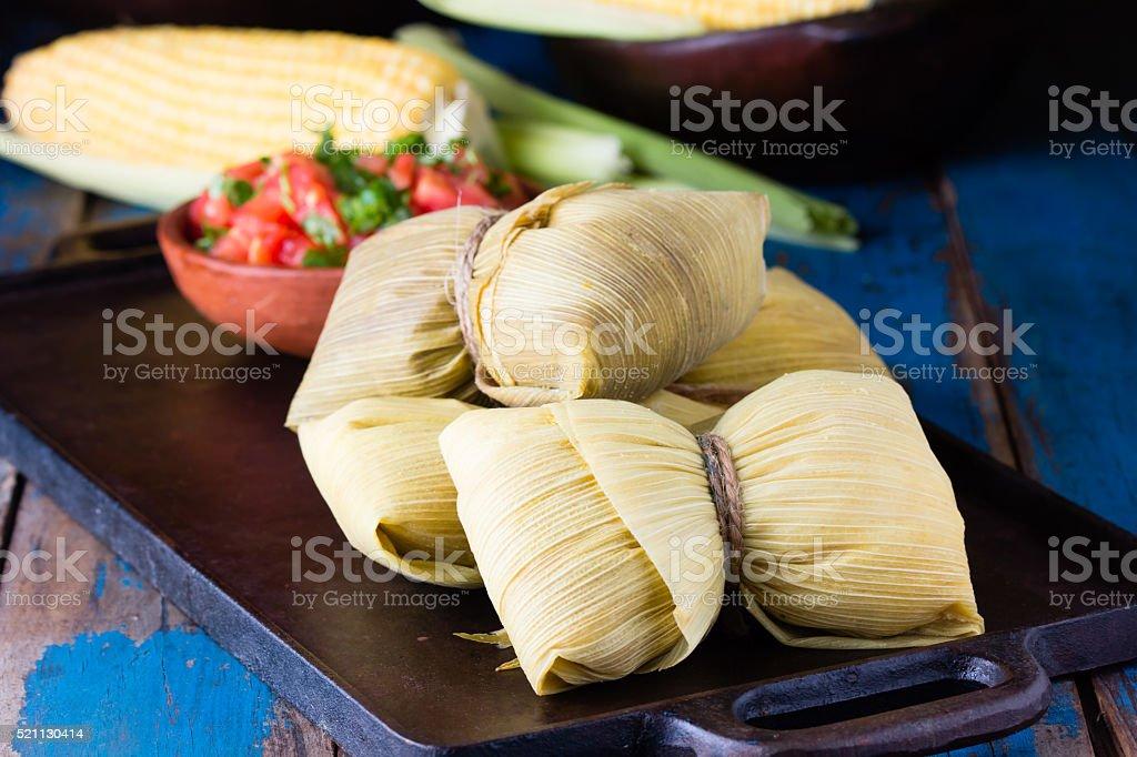 Latin American food. Traditional homemade humitas of corn stock photo