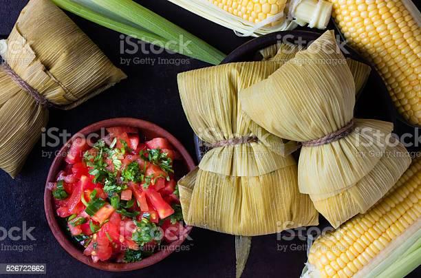 Photo of Latin American food. Traditional homemade humitas of corn.