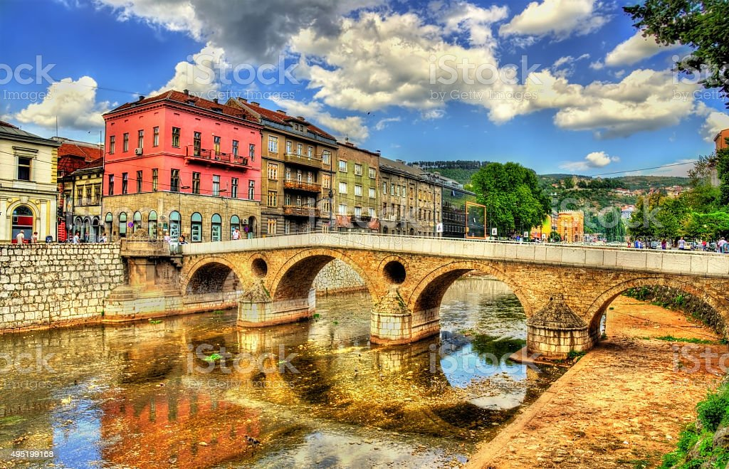 Latin Bridge in Sarajevo - Bosnia and Herzegovina stock photo