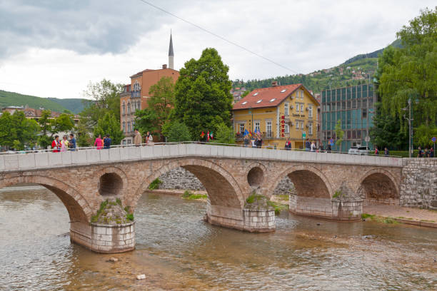 Latin Bridge in Sarajevo stock photo