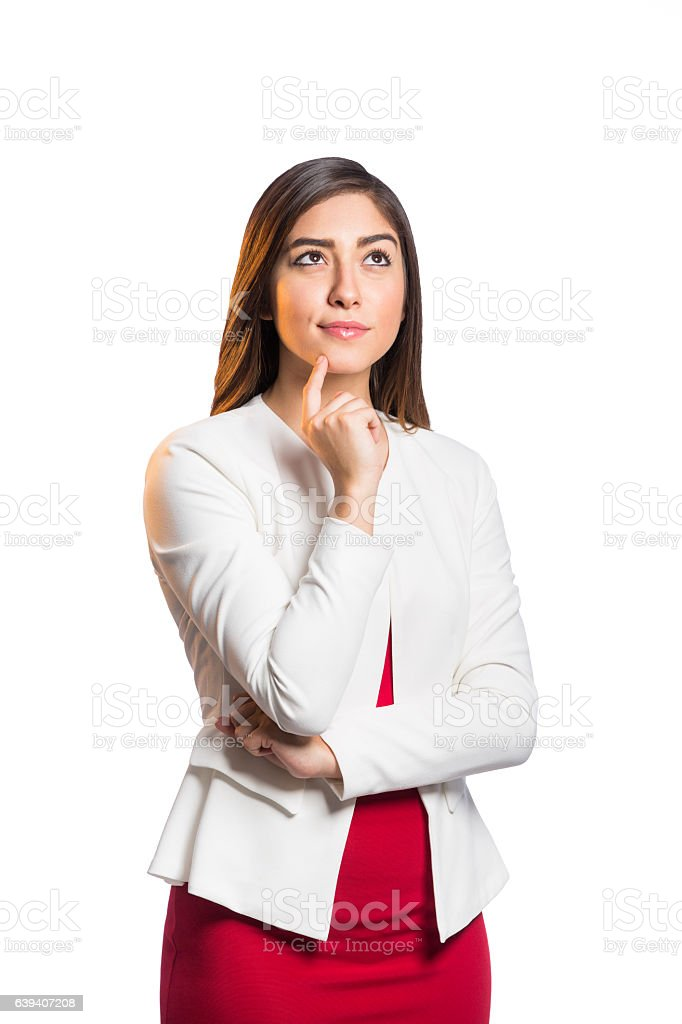 Latin buisnesswoman thinking and looking up stock photo