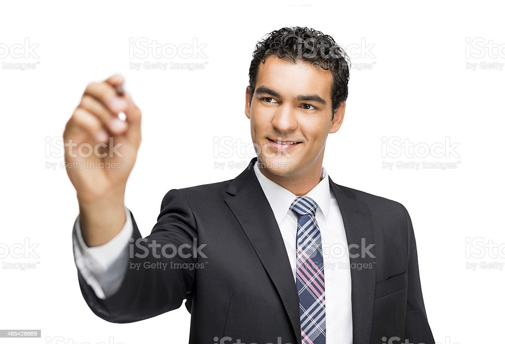 Latin business man writing on screen stock photo