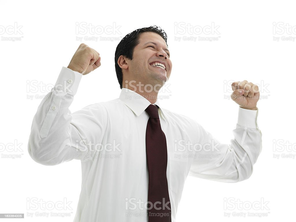 Latin businessman excited royalty-free stock photo