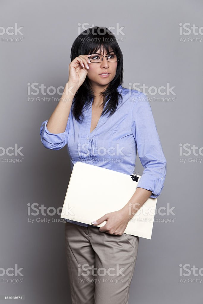 Latin businesswoman with glasses royalty-free stock photo