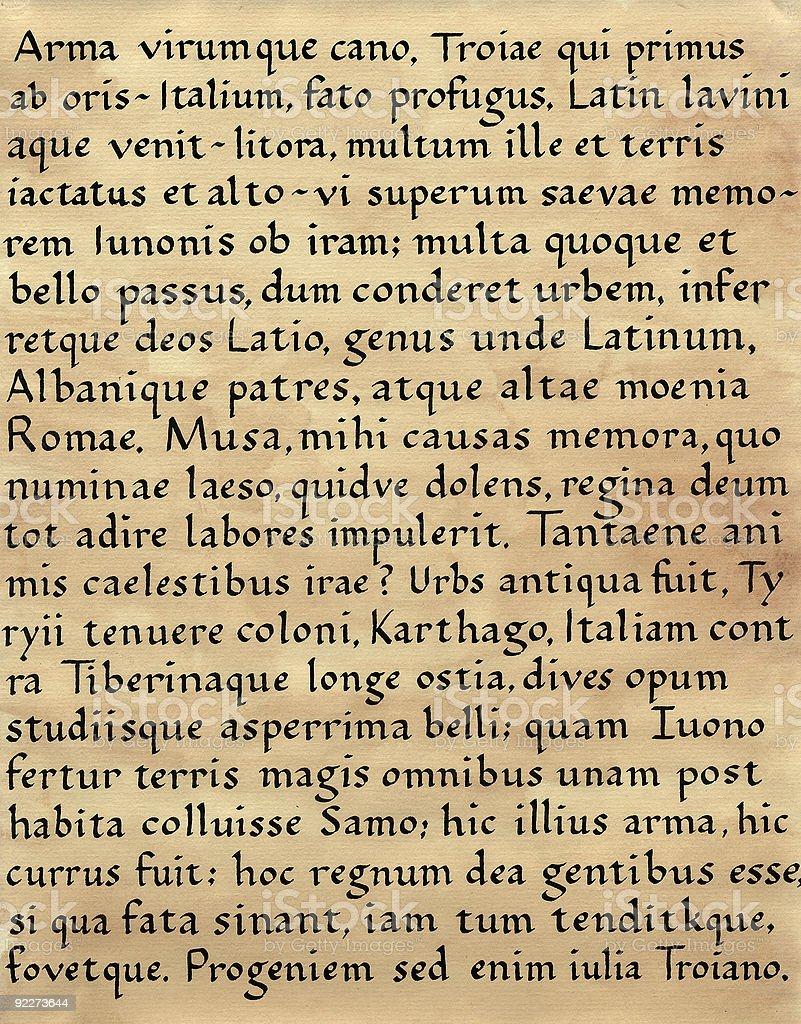 Latin Calligraphy (from Virgil's Aeneid) stock photo