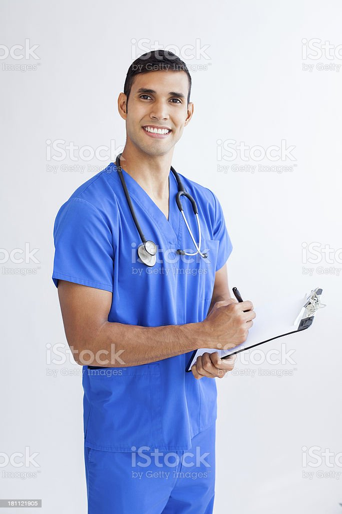 Latin doctor writing royalty-free stock photo