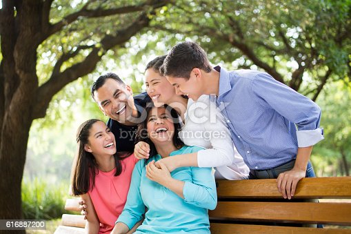 istock Latin family laughing together outdoors 616887200